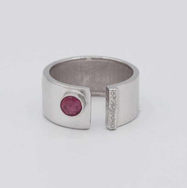 pink tourmaline silver ring adjustable October birthstone ring pink stone ring handmade in Greece