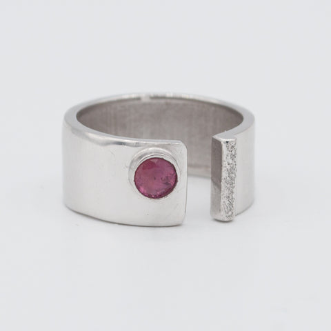 pink tourmaline silver ring adjustable October birthstone ring pink stone ring