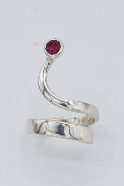 pink tourmaline silver wave ring, tourmaline ring, October birthstone silver ring