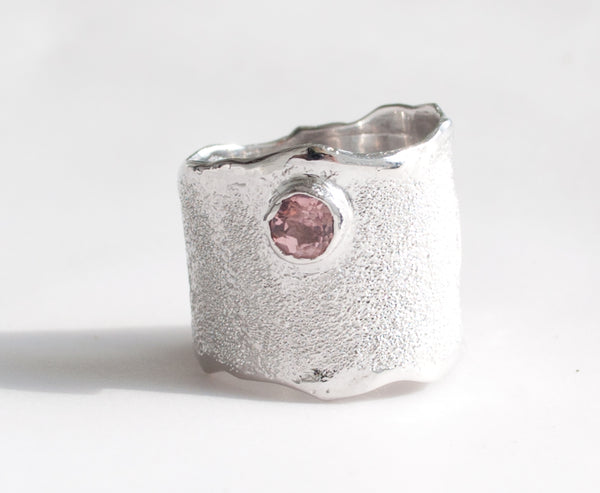 pink tourmaline silver ring - wide textured silver ring