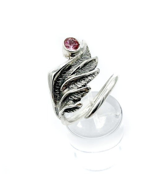 wing ring, silver ring, pink tourmaline ring, silver archangel ring