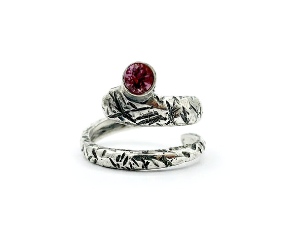 pink tourmaline ring, snake ring, pink stone ring, October birthstone ring
