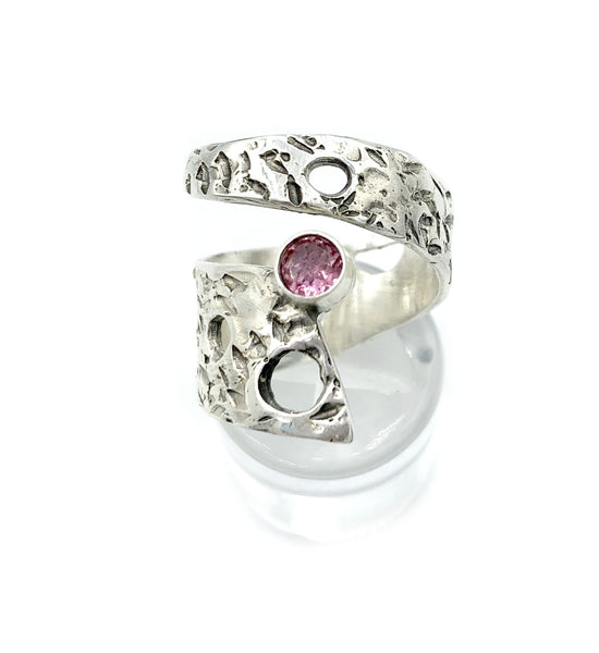 Abstract silver ring, pink tourmaline ring, silver adjustable ring, October birthstone ring