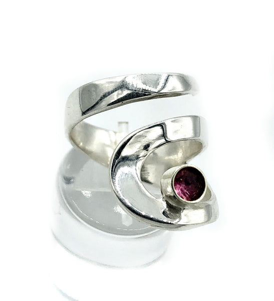 pink tourmaline silver ring adjustable, drop shape silver ring, contemporary silver ring