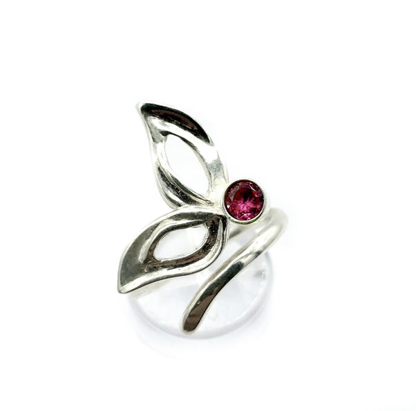 flower ring, pink tourmaline silver ring, contemporary silver ring adjustable - Handmade with love from Greece