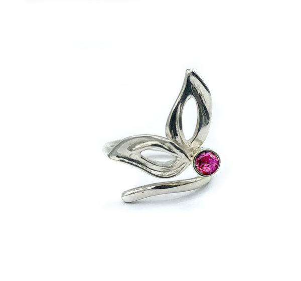 flower ring, pink tourmaline silver ring, contemporary silver ring adjustable