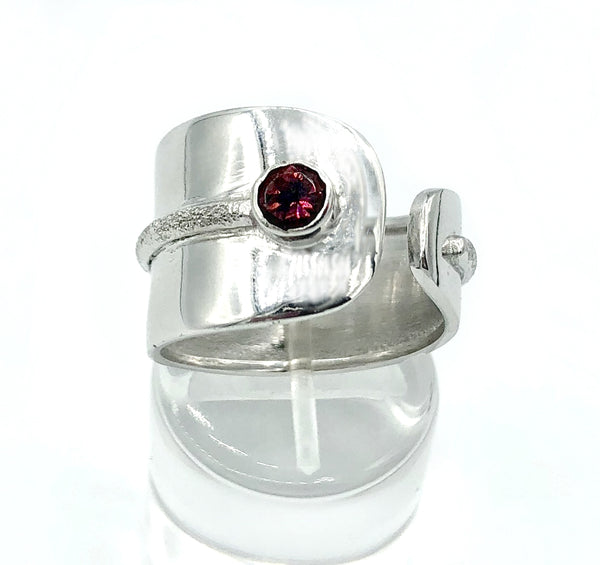 pink tourmaline silver ring, adjustable silver ring, pink stone ring October birthstone