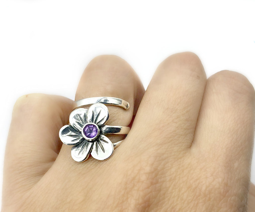 Poppy flower ring silver with amethyst gemstone