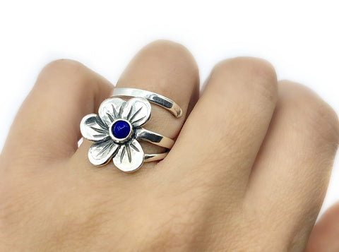 poppy flower ring, blue lapis silver ring, silver ring adjustable one size fits all silver ring