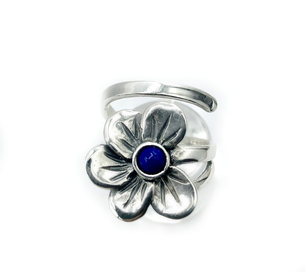 poppy flower ring, blue lapis silver ring, silver ring one size fits all
