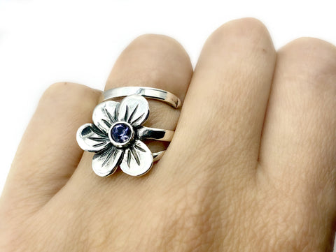 poppy flower ring, blue iolite silver ring, silver ring adjustable