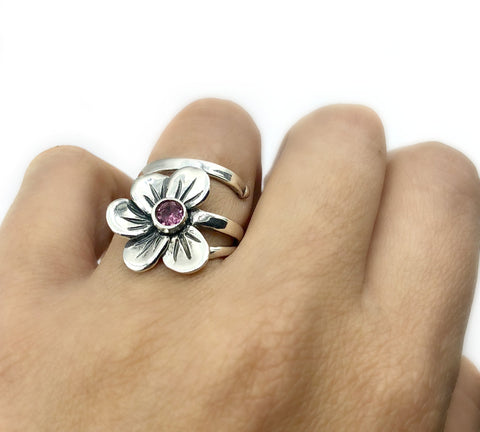 poppy flower ring, pink tourmaline silver ring, silver ring adjustable