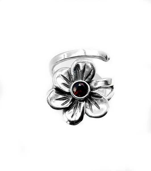 poppy flower ring, red garnet silver ring, silver ring adjustable