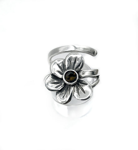 poppy flower ring, smoky quartz silver ring, silver ring one size fits all