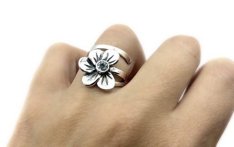 poppy flower ring, zircon silver ring, silver ring one size fits all