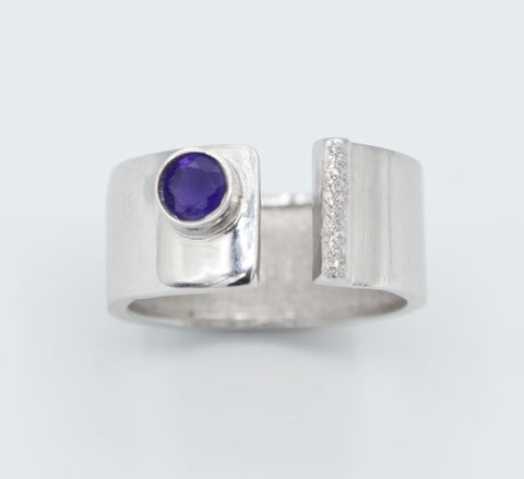 Amethyst silver ring adjustable February birthstone ring purple stone ring