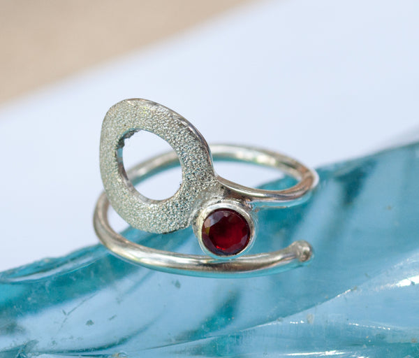 open circle ring, red garnet silver ring, silver geometric ring with red stone ring garnet solitaire ring handmade in Greece