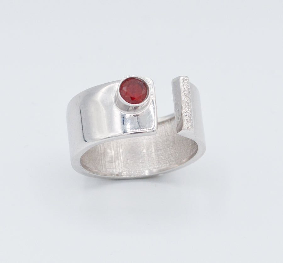Red garnet silver ring adjustable January birthstone red stone ring