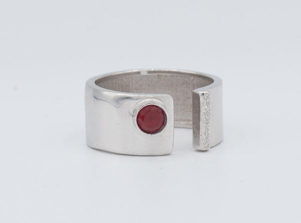 handmade red garnet wide silver ring - red garnet solitaire ring - red stone ring