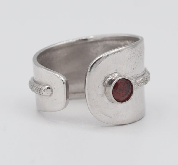handmade red garnet wide silver ring  red garnet solitaire ring red stone ring