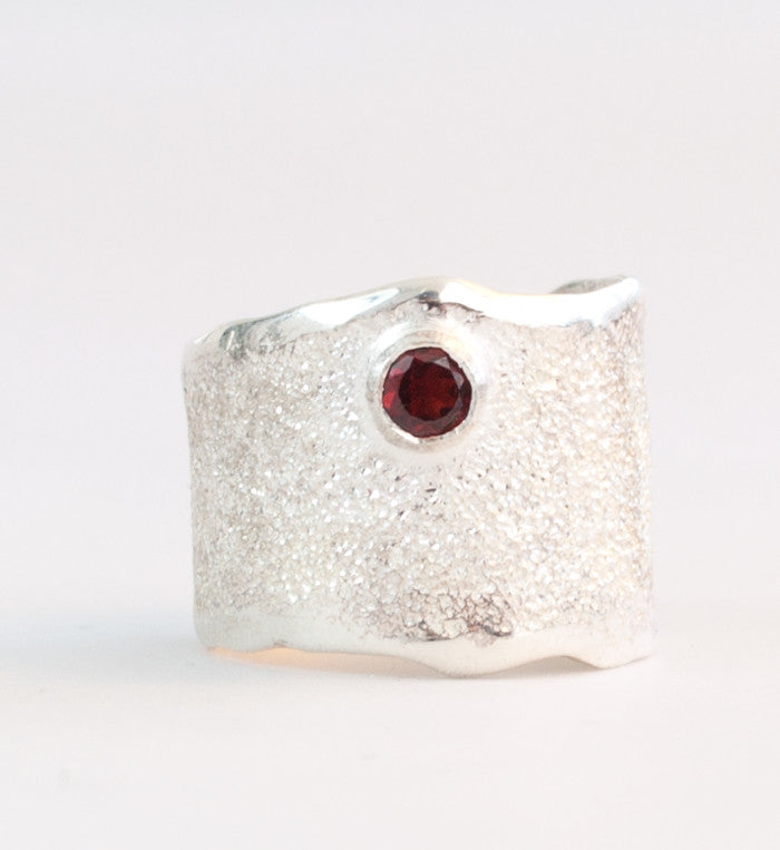 red garnet gem stone Wide Silver Ring, red garnet stone Solitaire Ring foster texture with 925 silver wide band handmade in Greece