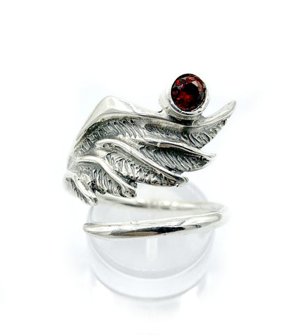 wing ring, silver ring, red garnet ring, silver adjustable ring, archangel ring