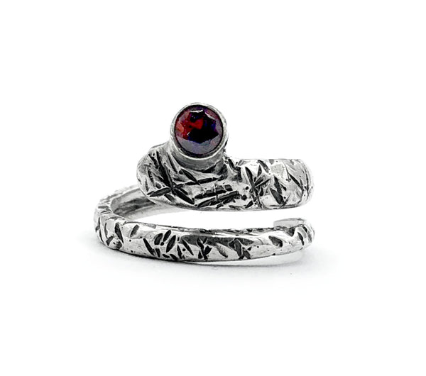 red garnet ring, snake ring, red stone ring, January birthstone silver ring