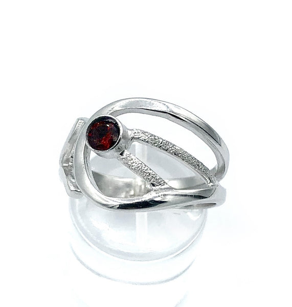 red garnet ring, red stone ring, modern silver ring January birthstone ring