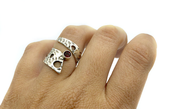 Abstract silver ring, red garnet ring, silver adjustable ring, January birthstone ring - Handmade with love from Greece