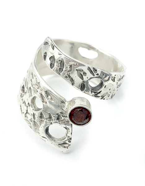 Abstract silver ring, red garnet ring, silver adjustable ring, January birthstone ring