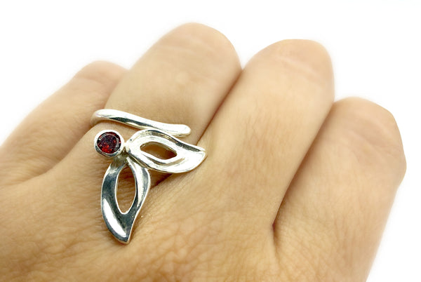 flower ring, red garnet silver ring, contemporary silver ring adjustable