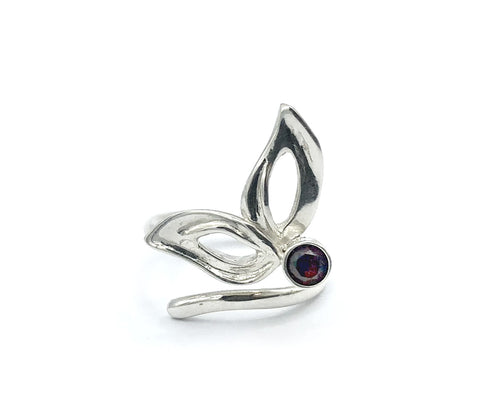 flower ring, red garnet silver ring, contemporary silver ring adjustable - Handmade with love from Greece