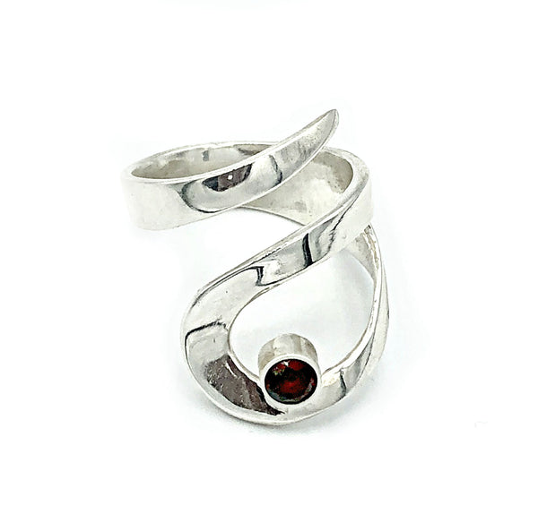 red garnet silver adjustable ring, drop shape silver ring, contemporary silver ring