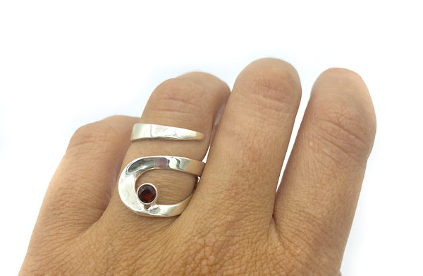 red stone silver ring, red garnet silver ring, contemporary silver adjustable ring
