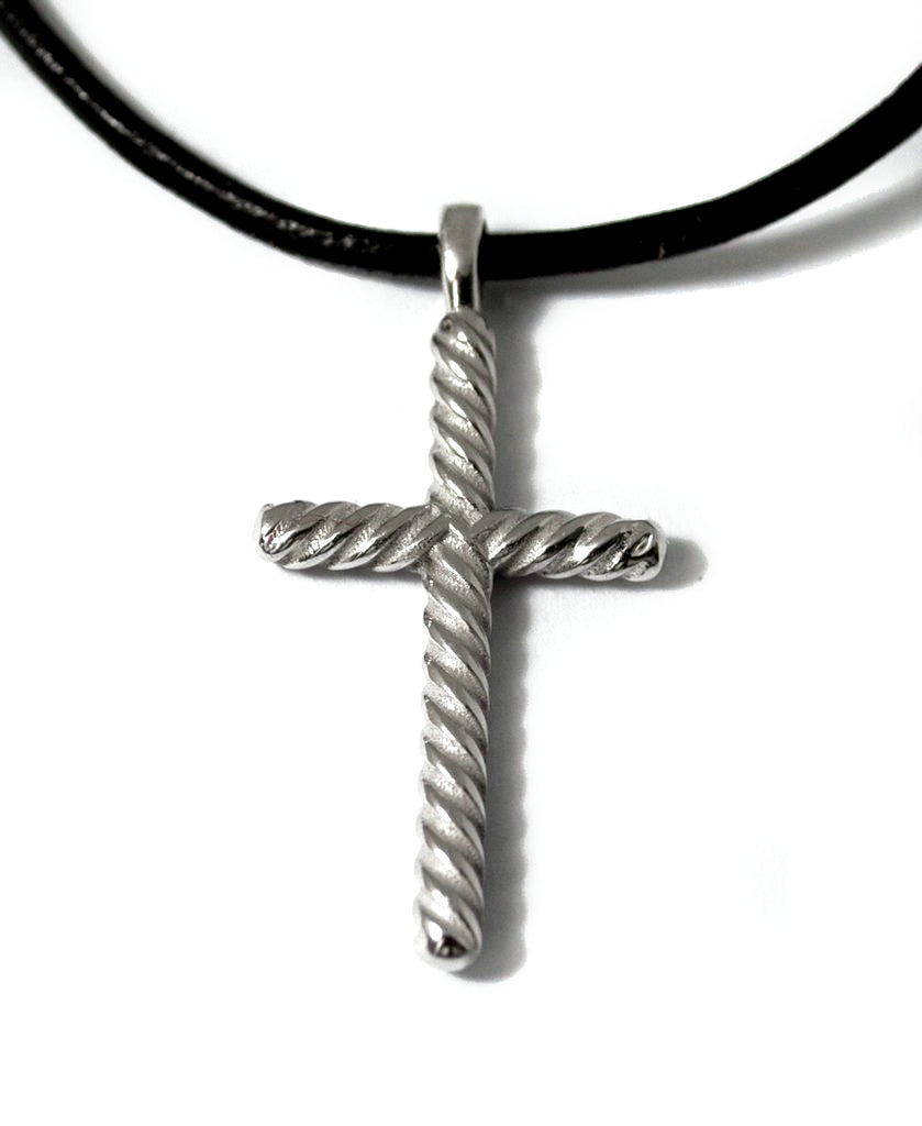 rope silver cross necklace with leather cord, rope silver cross, oxidized silver cross pendant