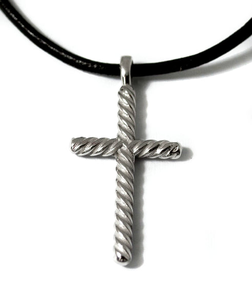 rope silver cross necklace with leather cord, rope silver cross