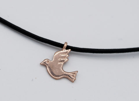 Rose gold dove pendant silver, leather cord adjustable bird charm necklace