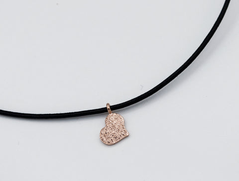 Rose heart pendant, rose heart necklace silver charm, leather cord Rose gold heart pendant silver,