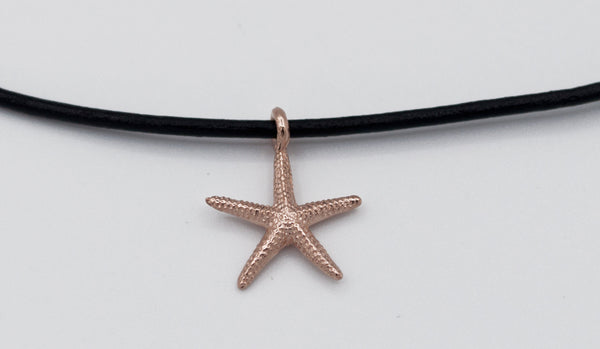 Rose gold starfish pendant silver, leather cord adjustable starfish charm necklace