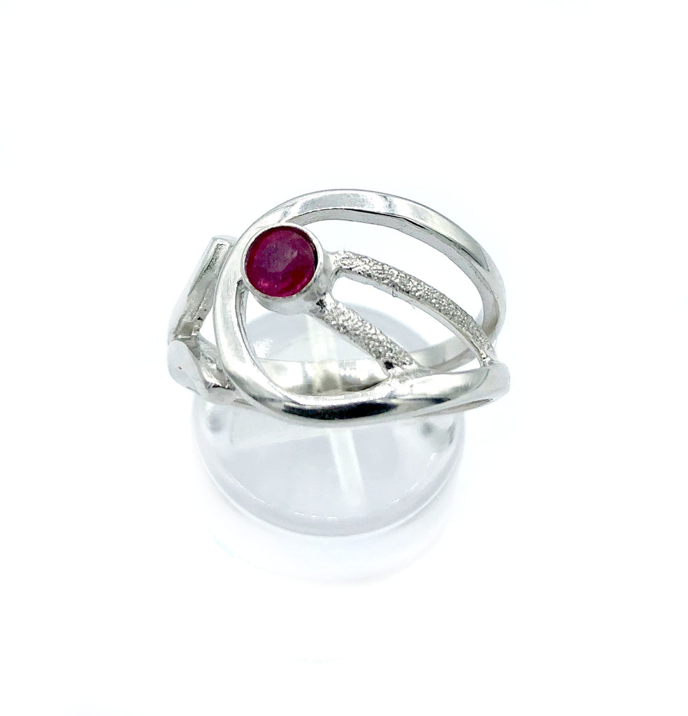 ruby silver ring, ruby stone ring, modern silver ring July birthstone ring