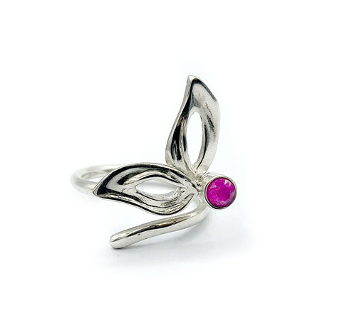 flower ring, ruby silver ring, one size fits all ring, modern ring - Handmade with love from Greece