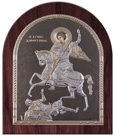 Saint Demetrius Greek Orthodox Silver Icon, Grey