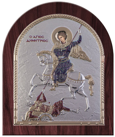 Saint Demetrius Greek Orthodox Silver Icon, Burgundy