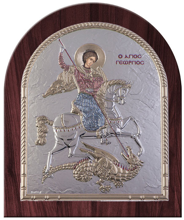 Saint George Greek Orthodox Silver Icon, Red & Blue Byzantine religious icon