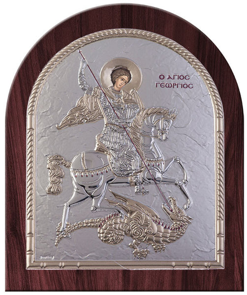 Saint George Byzantine Greek Orthodox Religious Icon, Silver - Made in Greece