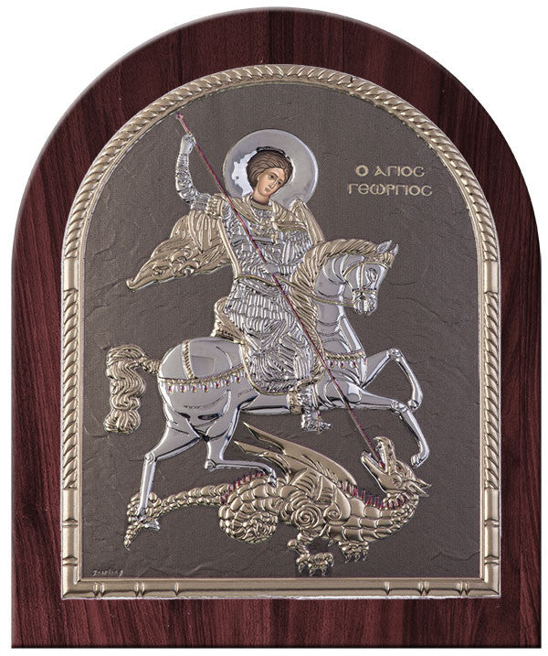 Saint George Greek Orthodox Silver Icon, Silver dome shape icon