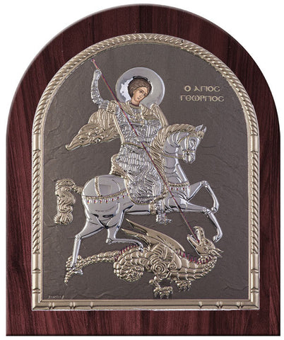Saint George Byzantine Greek Orthodox Icon, Grey - Made in Greece Άγιος Γεώργιος