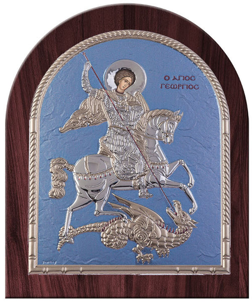 Saint George Greek Orthodox Silver Icon, Blue Ciel Byzantine religious icon