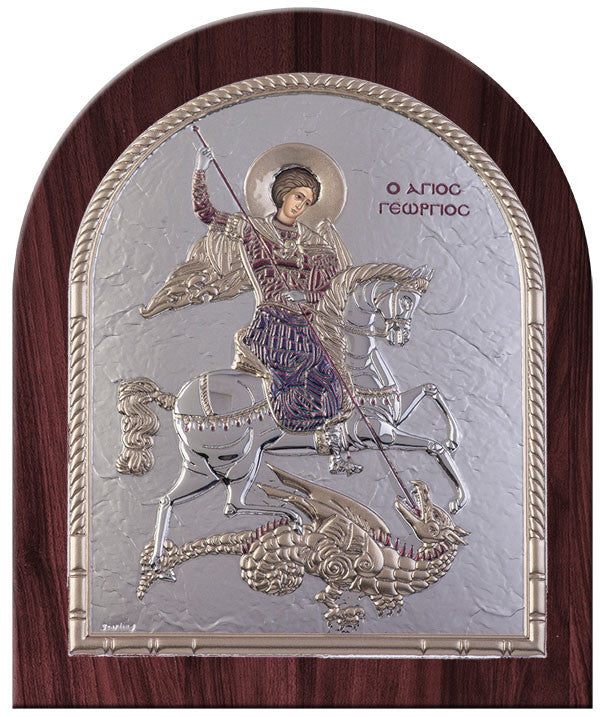 Saint George Byzantine Greek Orthodox Religious Icon Burgundy Made in Greece Άγιος Γεώργιος