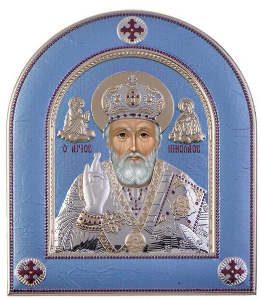 Saint Nicholas Silver Greek Orthodox Icon, Tiel Blue